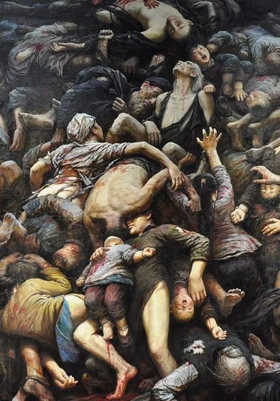 李自健油画作品《南京大屠杀》✨